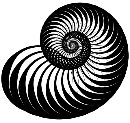 hypnotherapy: Snail, helix made of inward rotating circles. Abstract element isolated on white.