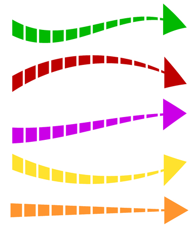 Set of 5 colorful arrow shapes. Long, horizontal arrows Illustration