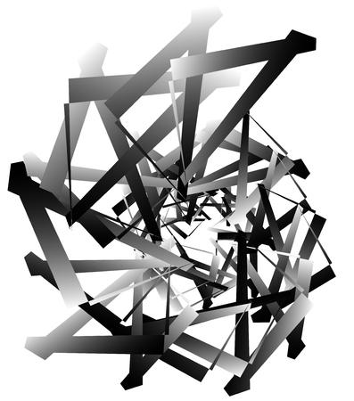 angular: Geometric abstract art. Edgy, angular rough texture. Monochrome, black and white illustration