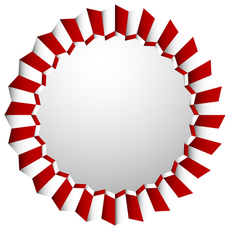 rosetta: Zigzag rosette, badge, cockade isolated on white with space. Decorative element. Illustration