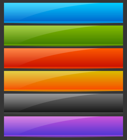 rectangle button: Rectangle horizontal bright, colorful button, banner backgrounds with empty space for your message. Labels, tags UI, GUI elements Illustration