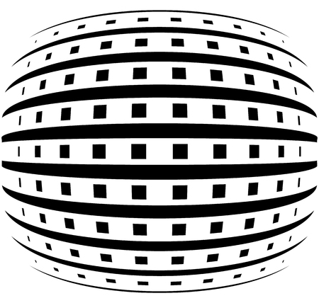 protuberant: Abstract grid with convex, spherical warp effect. Illustration