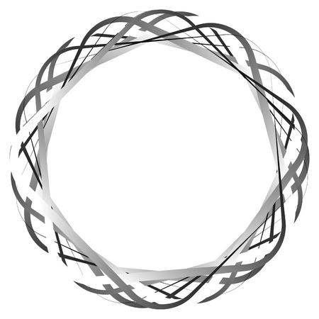 curvature: Circular random lines. Abstract circle monochrome black and white element