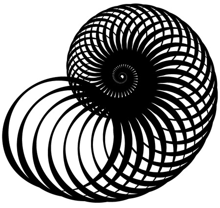 mesmerize: Snail, helix made of inward rotating circles. Abstract element isolated on white.