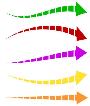 Set of 5 colorful arrow shapes. Long, horizontal arrows Vector Illustration