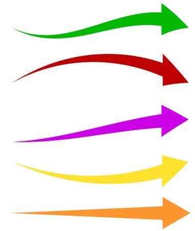 flechas curvas: Conjunto de 5 formas de flechas de colores. flechas horizontales largos,