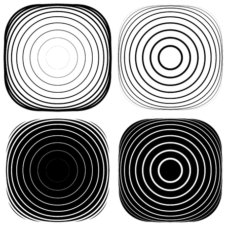tense: Radial, concentric shape set. Abstract monochrome graphics.