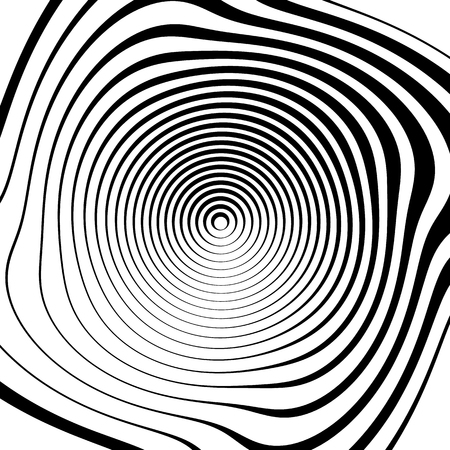 ripple effect: Irregular spiral background in square format. Abstract geometric ripple effect. Inward hypnotic spiral, distorted concentric circles. Monochrome circular pattern  element.
