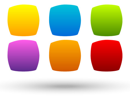 corner tab: Set of 6 colorful, vivid button, banner backgrounds with blank space for your message. Colorful, bright tags, labels. Abstract design elements
