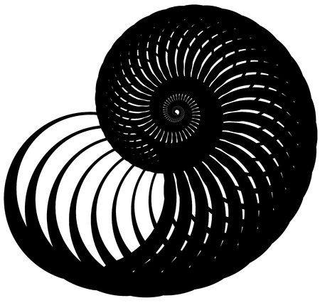 deceptive: Snail, helix made of inward rotating circles. Abstract element isolated on white.
