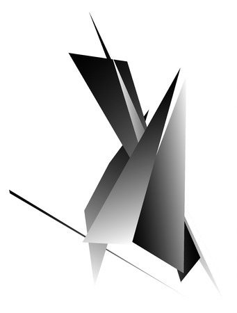 angular: Edgy, angular geometric element. Monochrome abstract design.