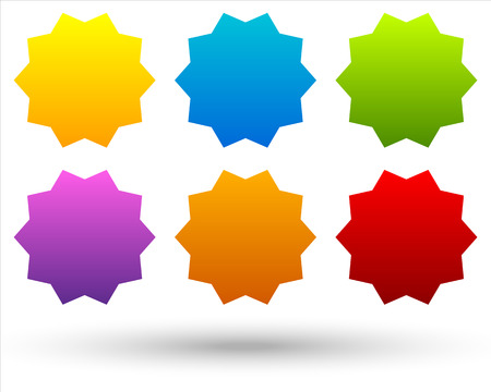 elongated: Set of 6 colorful, vivid button, banner backgrounds with blank space for your message. Colorful, bright tags, labels. Abstract design elements