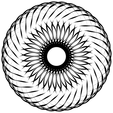 revolve: Abstract geometric spiral element with intersecting lines