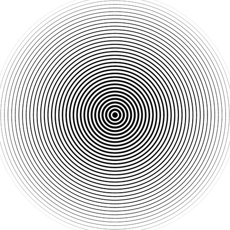 Concentric circles pattern. Abstract monochrome-geometric illustration. Vettoriali