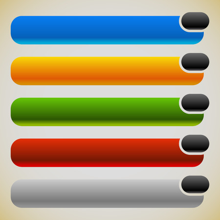 elongated: Two part banners, buttons with intersecting rectangles. 5 colors. Illustration
