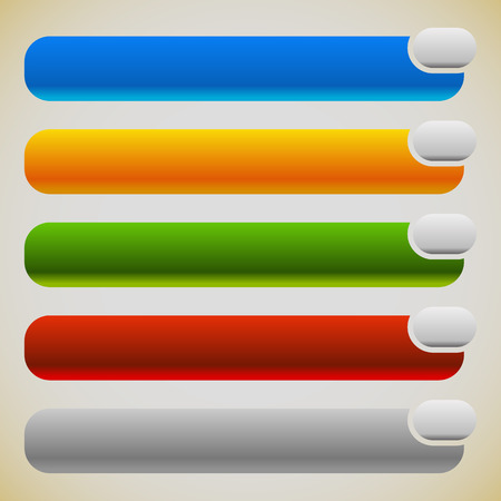 intersecting: Two part banners, buttons with intersecting rectangles. 5 colors. Illustration
