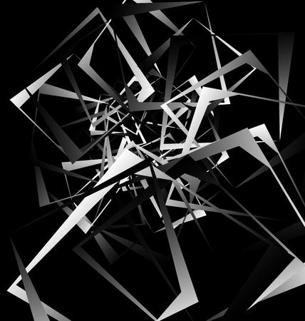 tense: Geometric abstract art. Edgy, angular rough texture. Monochrome, black and white illustration