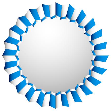 cockade: Zigzag rosette, badge, cockade isolated on white with space. Decorative element. Illustration