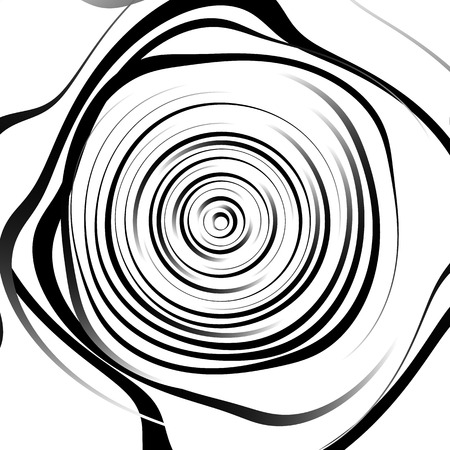 squeeze shape: Irregular spiral background in square format. Abstract geometric ripple effect. Inward hypnotic spiral, distorted concentric circles. Monochrome circular pattern  element.