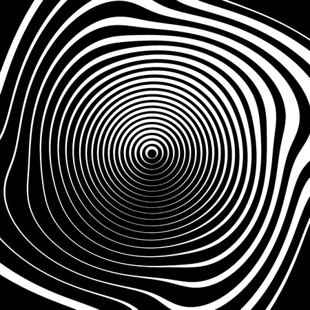 strain: Irregular spiral background in square format. Abstract geometric ripple effect. Inward hypnotic spiral, distorted concentric circles. Monochrome circular pattern  element.