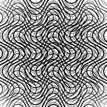 snaky: Mesh of wavy, billowy, undulating lines. Repeatable geometric monochrome pattern Illustration