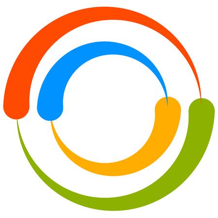 segmented: Colorful circle motif with two-part circles. Generic circular icon. Vector illustration.