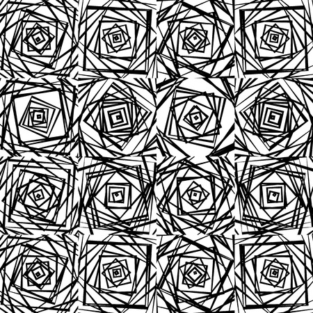 harsh: Mosaic of chaotic irregular, random squares. Repeatable background pattern. Rough abstract monochrome texture in black and white Illustration