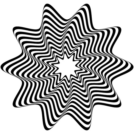 pucker: Concentric, rotating spiral element. Vector illustration.