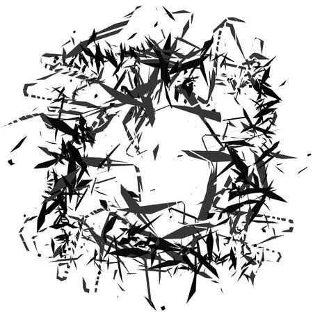 splinter: Random, chaotic edgy shapes. Rough monochrome texture. Abstract vector art.
