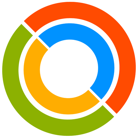 generic: Colorful circle motif with two-part circles. Generic circular icon. Vector illustration.