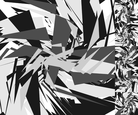 disorganized: Abstract edgy background(s). Monochrome geometric image with scattered, random overlapping edgy shapes in square format Illustration