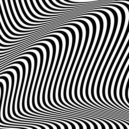 undulating: Dynamic lines abstract pattern. Vector illustration with great contrast. Optical illusion background