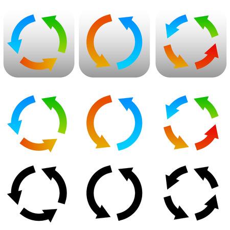 cuve: Circular, circle arrow icons, symbols. Colorful and black versions. Vector