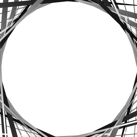 intersecting: Background with blank space, random intersecting lines at corners. Abstract monochrome backdrop illustration