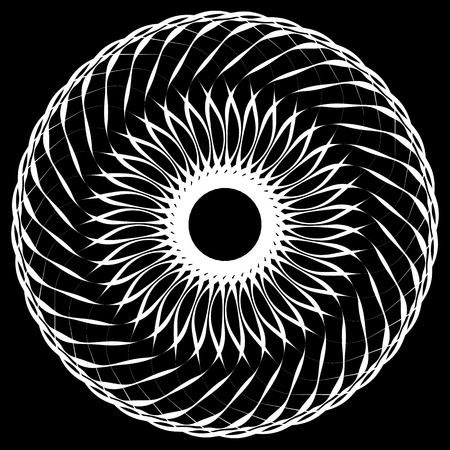intersecting: Abstract geometric spiral element with intersecting lines