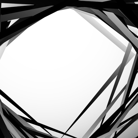 misshapen: Geometric overlapping - intersecting shapes. Abstract grayscale illustration. Vector Illustration