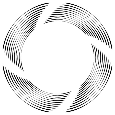 vortex: Abstract monochrome spiral, vortex with radial, radiating circles. Rotating circles.