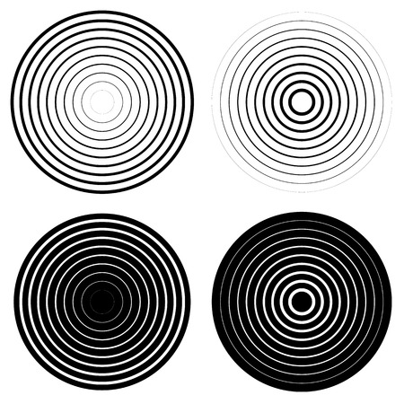 ripple effect: Set of 4 concentric circle elements. Ripple, radiating circles. Monochrome shapes.