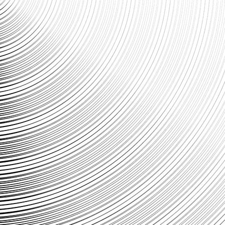 radiating: Circle pattern with dynamic, irregular lines. Geometric circular pattern with radiating, converging circles. Illustration