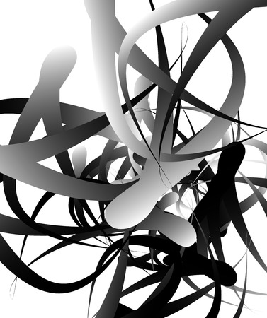 flexure: Random squiggly, curvy lines, abstract monochrome illustration. Overlapping tangled shapes. Black and white monochrome art image