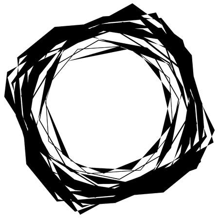 Edgy, angular monochrome geometric element. Abstract graphics.