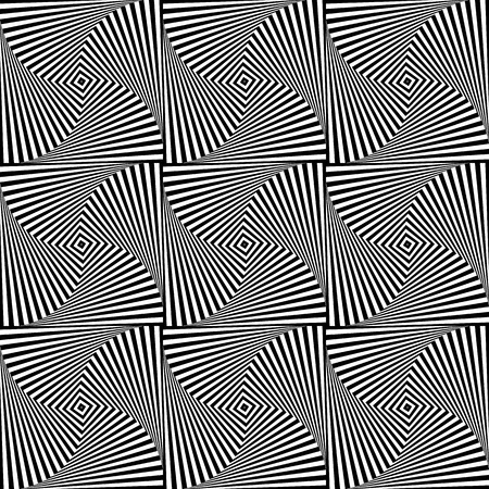 repeatable texture: Rotating squares repeatable abstract pattern. Monochrome texture