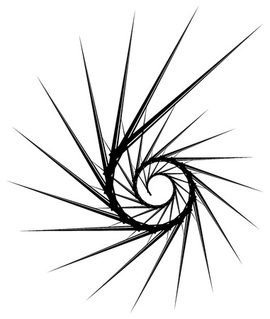 edgy: Geometric circular spiral. Abstract angular, edgy shape in rotating fashion Illustration