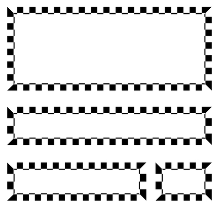 Set of blank banners, plaques with checkered borders for racing, auto sport, motor sport, gokart themes. checkered borders, frames Çizim