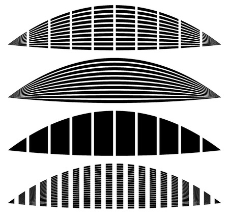 discoteque: Warped, distorted rectangles, vertical, horizontal lines. Set of different EQ, equalizer shapes, elements.