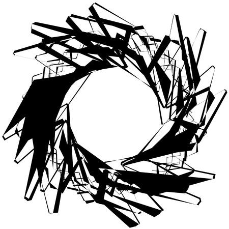 revolve: Abstract circular element with random shapes. Monochrome geometric illustration.
