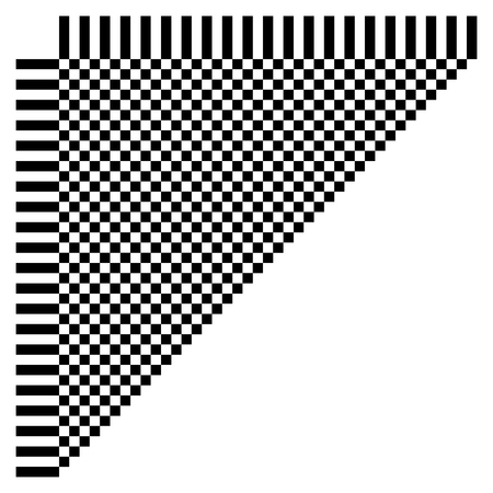 Abstract checkered geometric element, structure on white