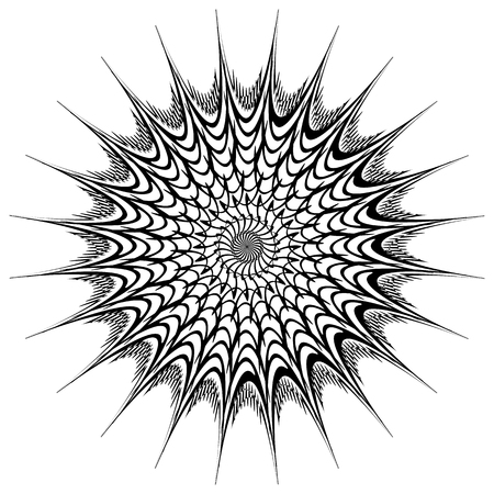 radiating: Abstract geometric circular element. Radiating irregular shape. Illustration