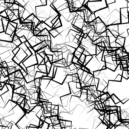 abstractionism: Geometric abstract art. Edgy, angular rough texture. Monochrome, black and white illustration