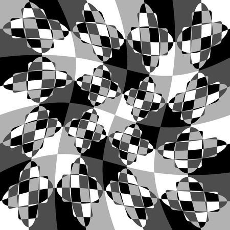 blocky: Geometric pattern with ripple, wavy distortion, warp effect. Abstract monochrome texture  background Illustration